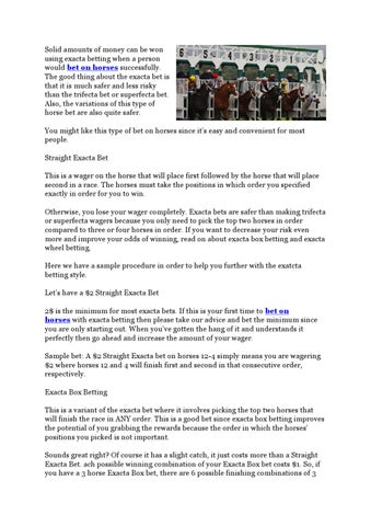 Bet on Horses Using Exacta Betting by concon lim - issuu