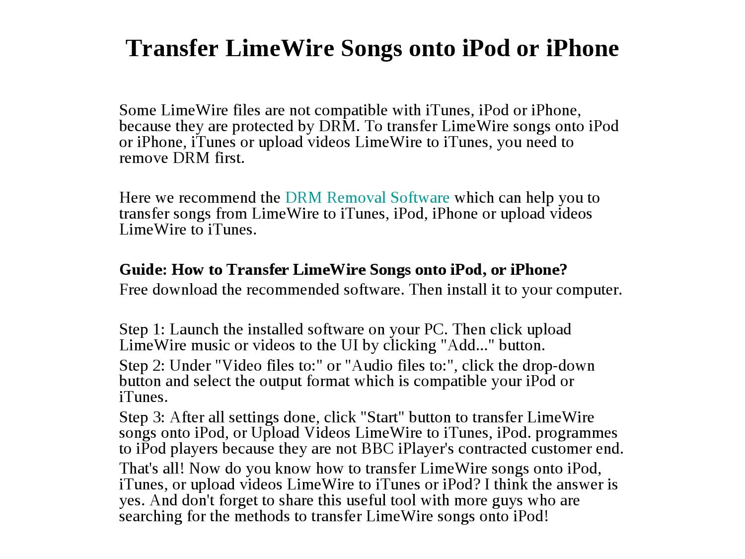 transfer limewire songs onto ipod/iphone by wang lisa - issuu