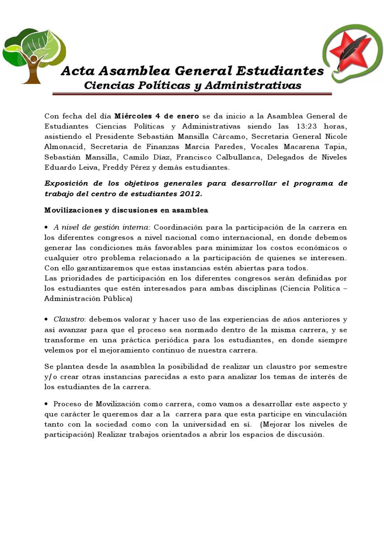 Acta asamblea de estudiantes Cipol - 04 de Enero by Centro de ...