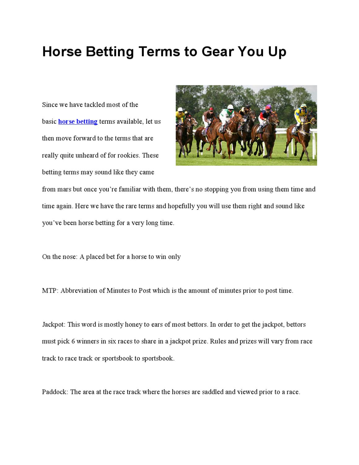 Horse betting terms and payouts on powerball hoe werkt betalen met bitcoins wiki