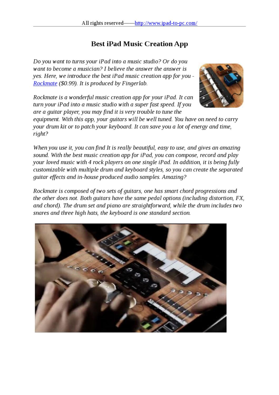 Best iPad Music Creation App by stafenia sun - issuu