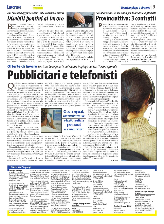 Lavorare 676 | 15 Gennaio 2012 by Media Futuro società cooperativa ...