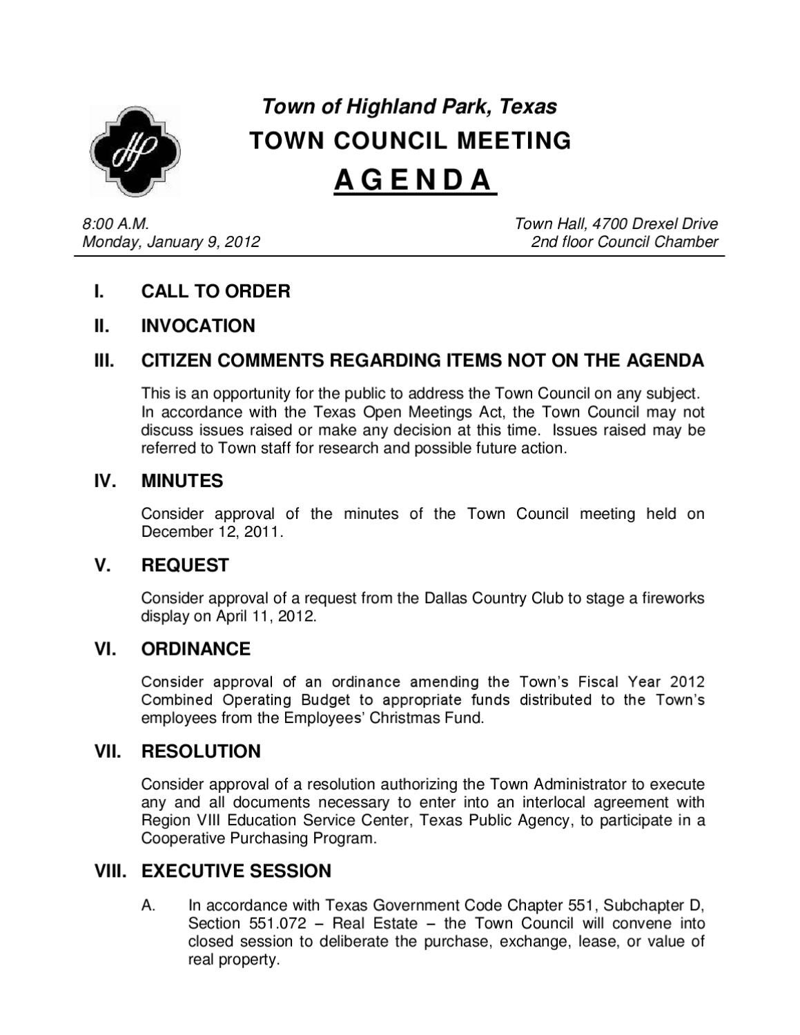 Town council agenda by town of highland park issuu platinumwayz