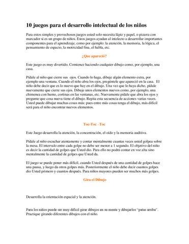 10 Juegos Para El Desarrollo Intelectual Del Nino By Maribel
