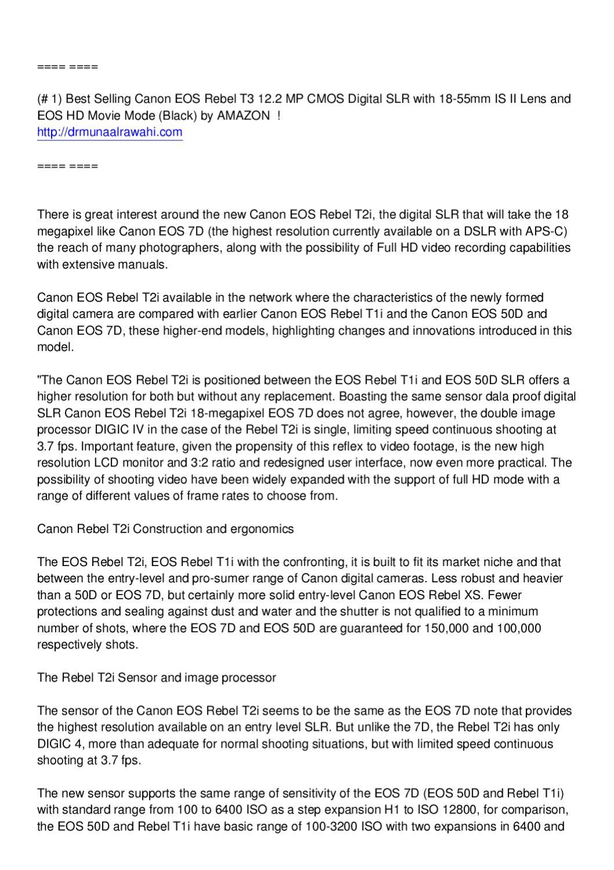 New Canon EOS Rebel T2i EOS 550D Test by Fahad Alrawahi - issuu