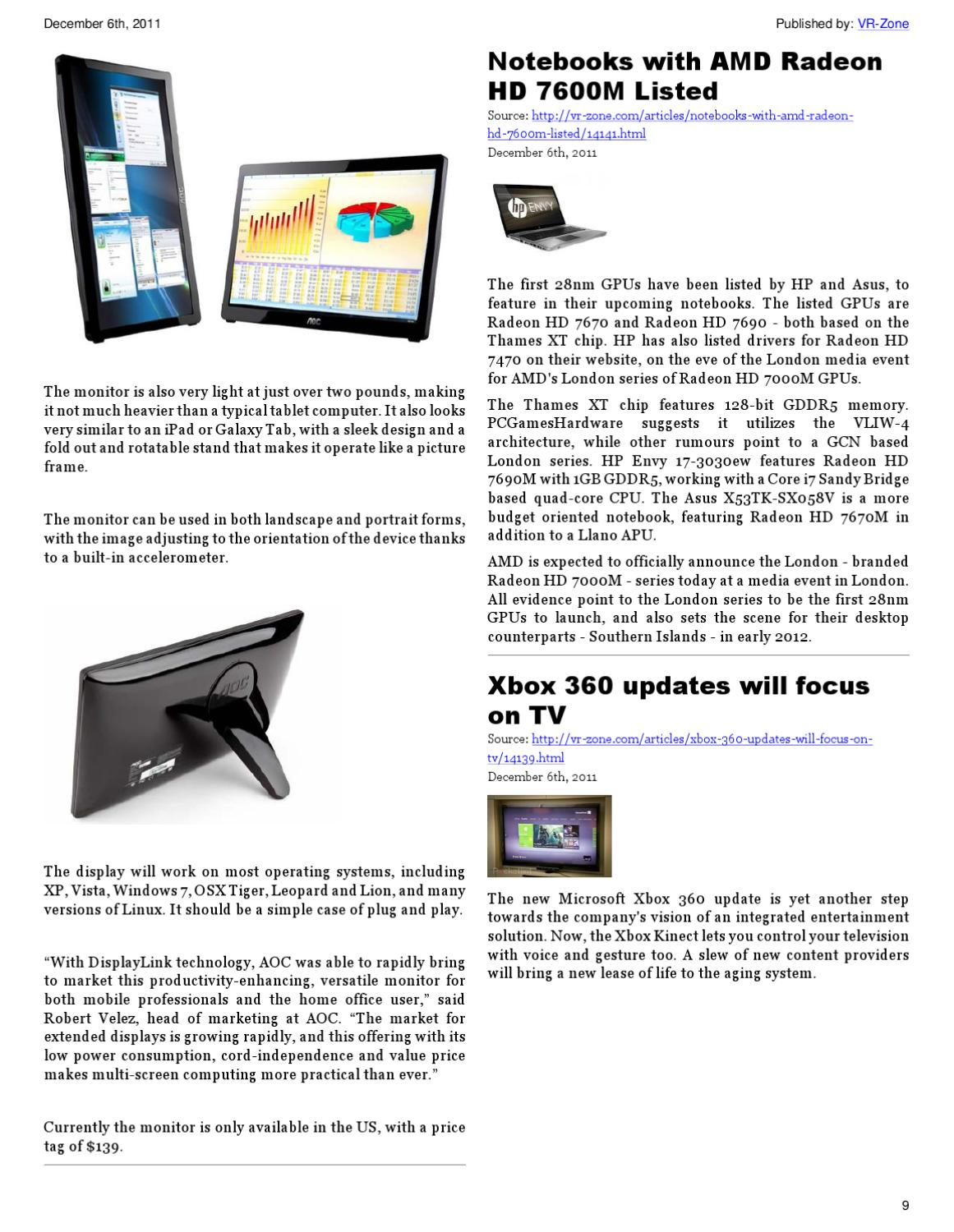 VR-Zone Tech News for the Geeks Dec 2011 Issue by VR Media Pte  Ltd