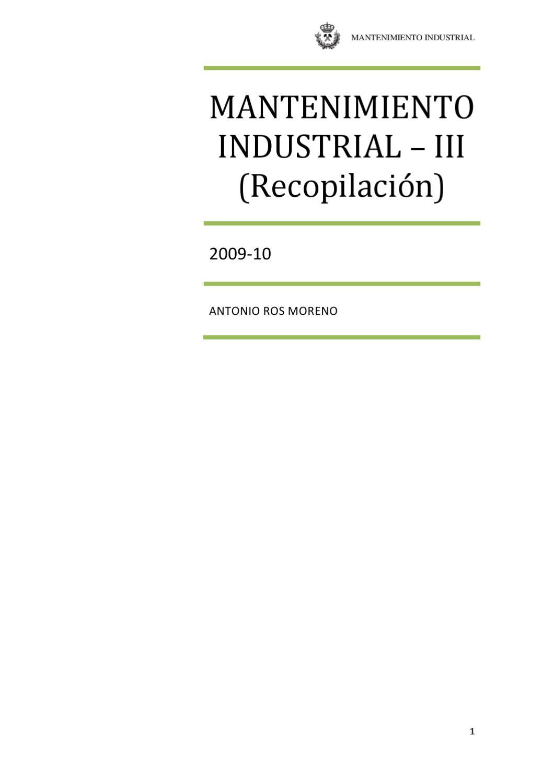 III.-Mantenimiento Industrial (Recopilación - Ejecución) by Antonio ...