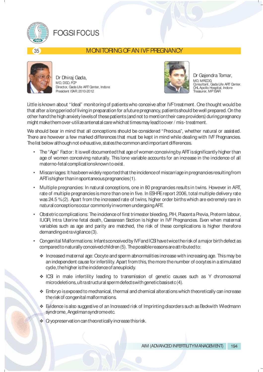 MONITORING OF AN IVF PREGNANCY by Sanjay Gole - issuu
