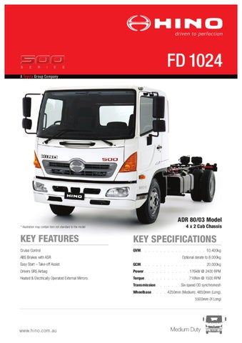 Hino 500 Series FD 1024 Spec Sheet by Justin Edwards - issuu