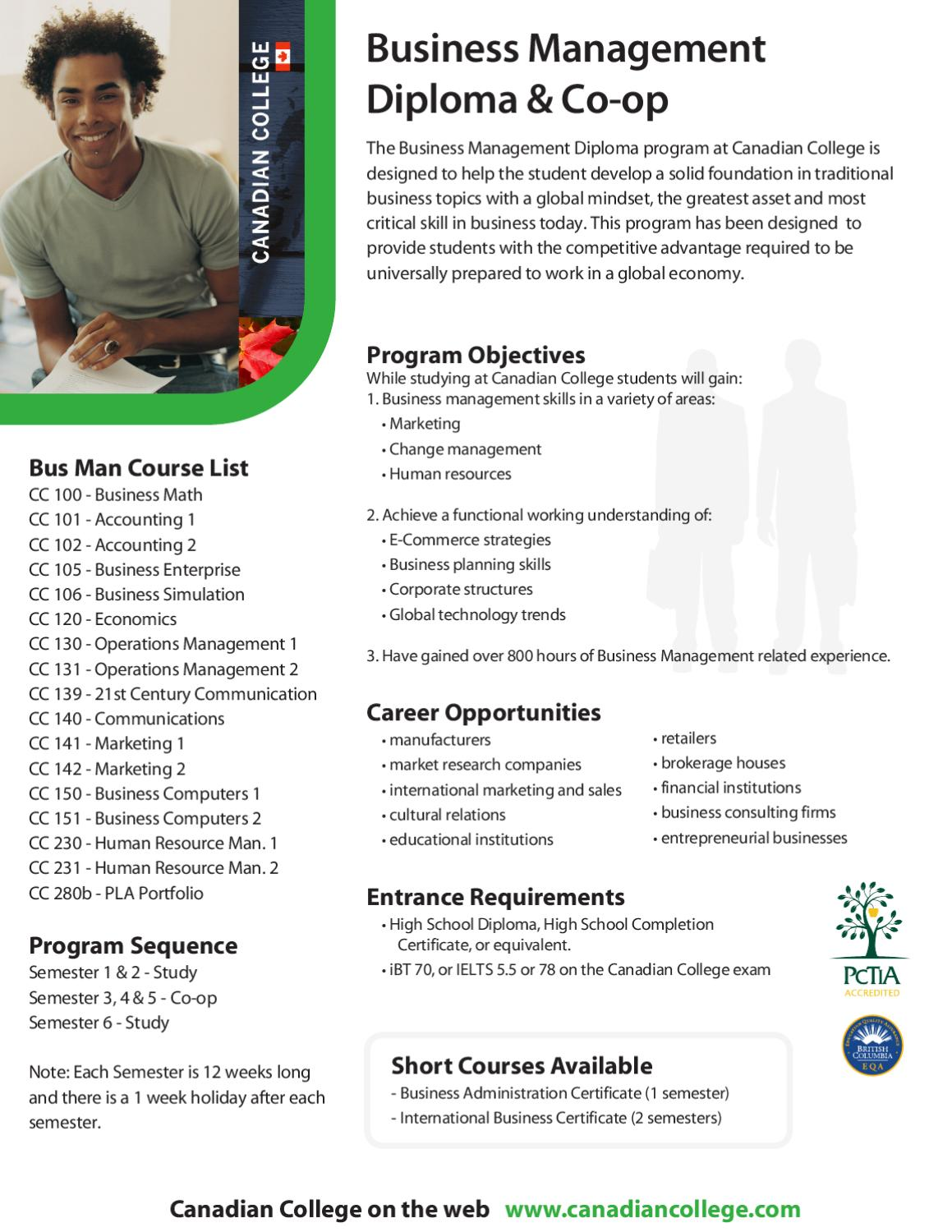 2012 Canadian College Business Management Diploma Co Op By Jeremy