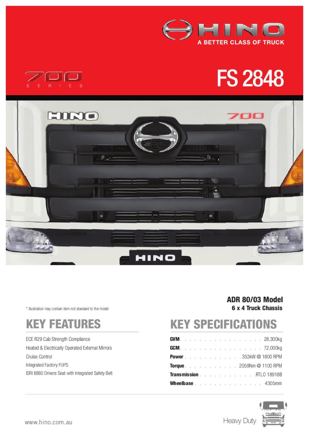 Hino 700 Series FS 2848 Spec Sheet by Justin Edwards - issuu