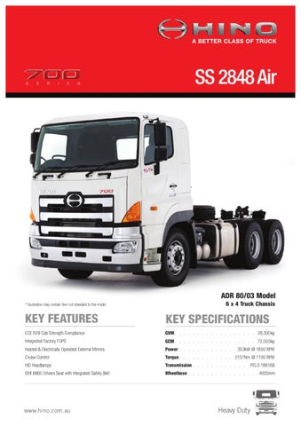 Hino 700 Series SS 2848 Air Spec Sheet by Justin Edwards - issuu