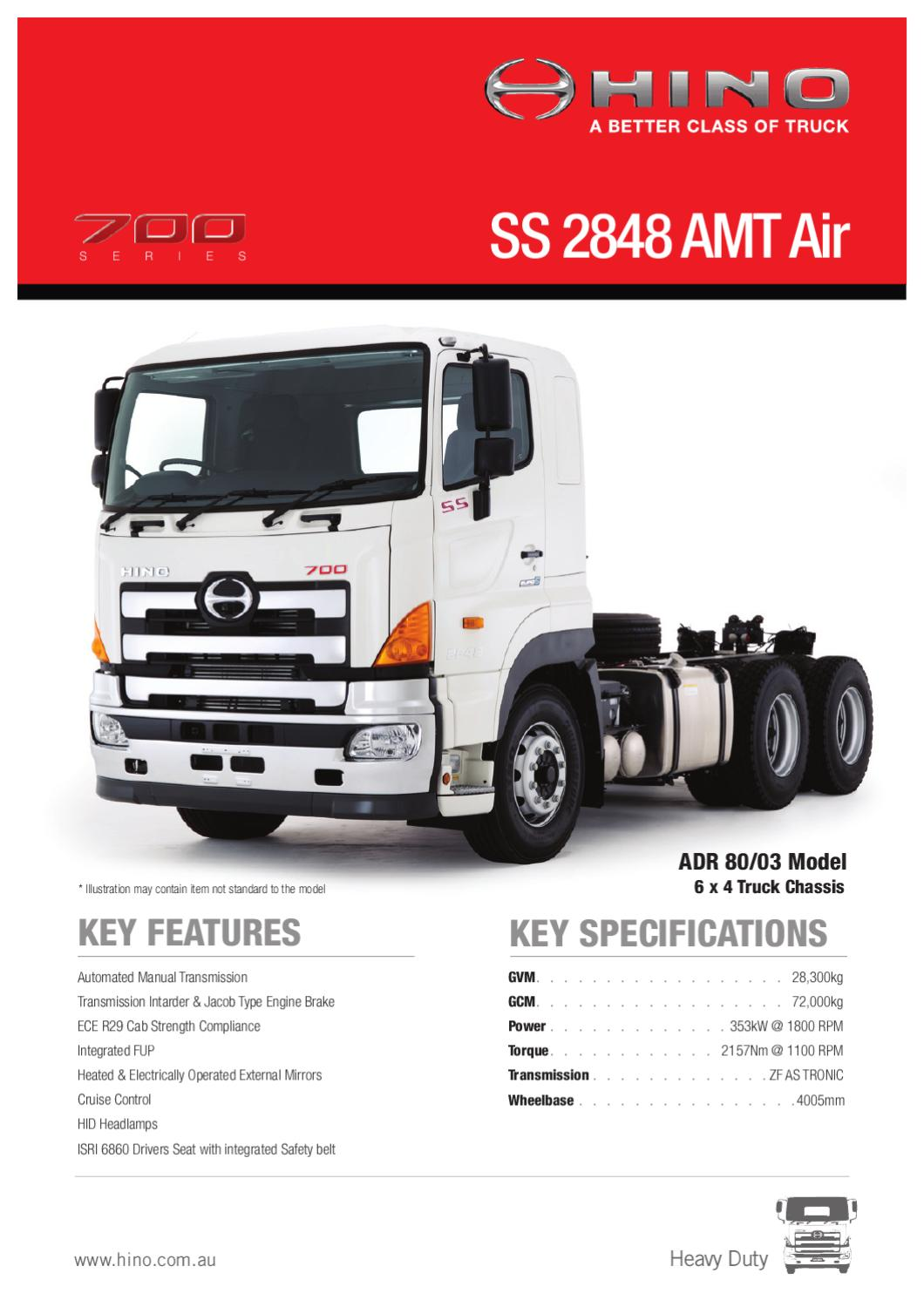 Hino 700 Series SS 2848 AMT Air Spec Sheet by Justin Edwards - Issuu