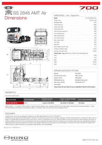 Hino 700 Series Ss 2848 Amt Air Spec Sheet By Justin