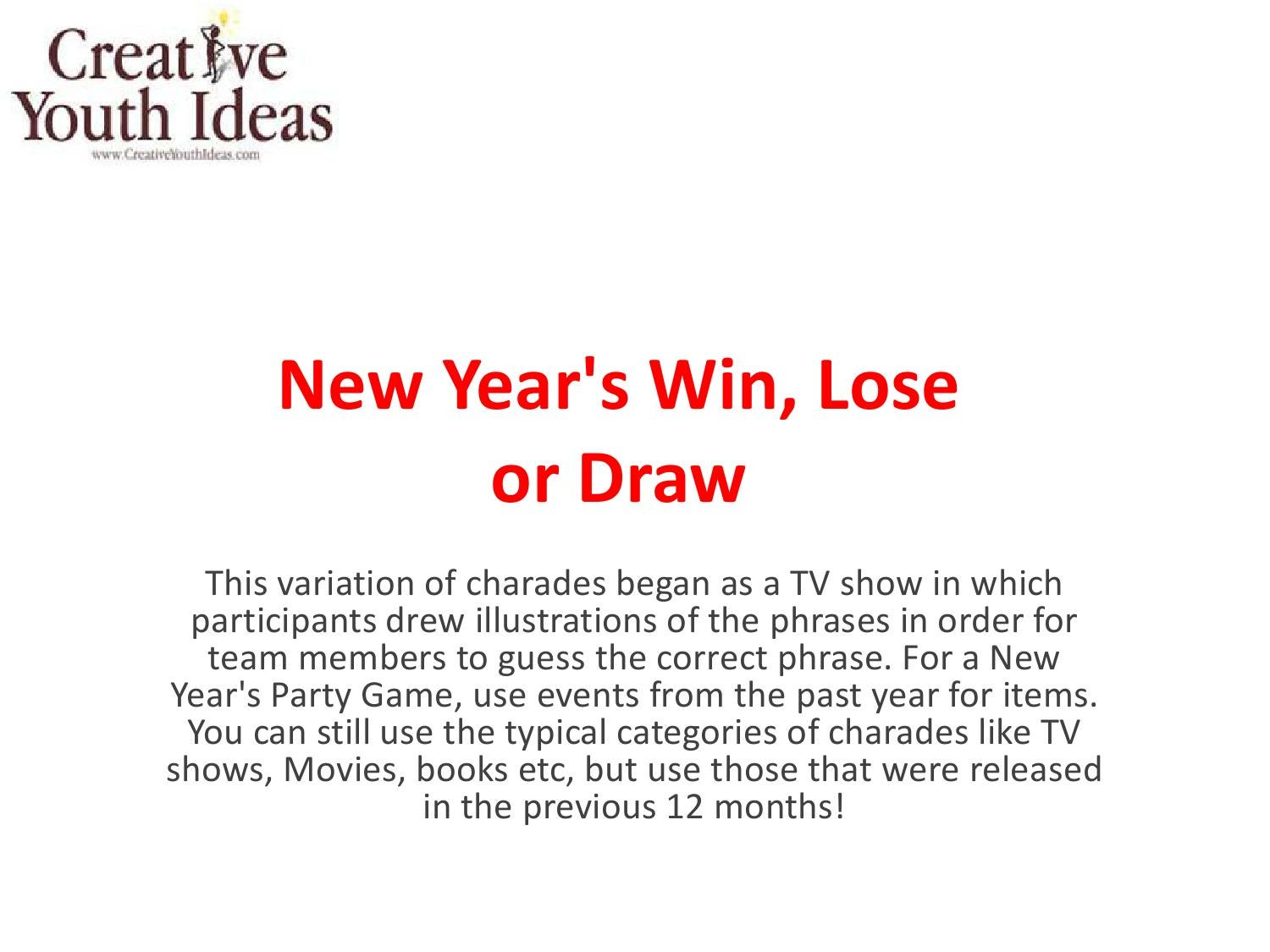 New Years Win Lose Or Draw By Ken Sapp Issuu