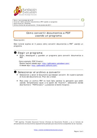 Cómo Convertir Documentos A Pdf Usando Un Programa By Fundacion Evolucion Issuu