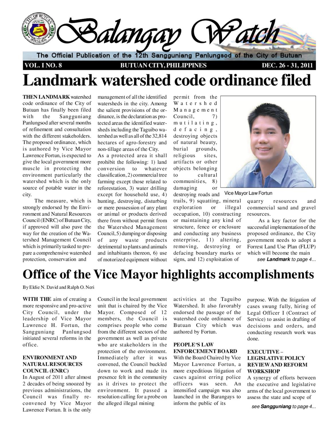 taguibo watershed Develop and initiate implementation of a watershed management and development plan for the taguibo watershed that reconciles overlapping land.