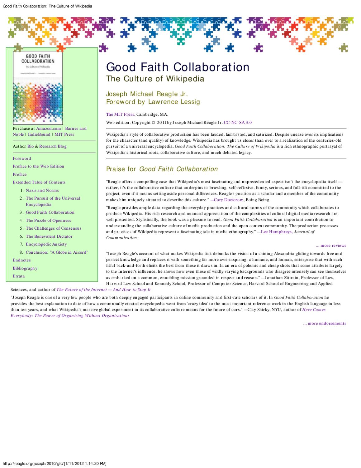 Good faith collaboration: the culture of Wikipedia by Northeastern ...