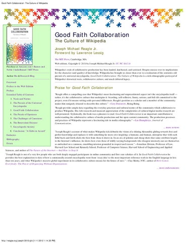 Good faith collaboration the culture of wikipedia by northeastern good faith collaboration the culture of wikipedia fandeluxe Image collections