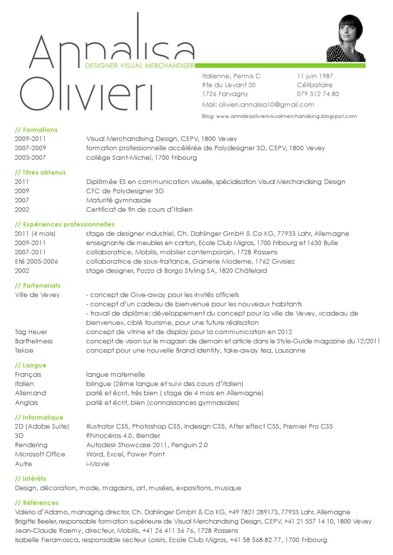 curriculum vitae by annalisa olivieri