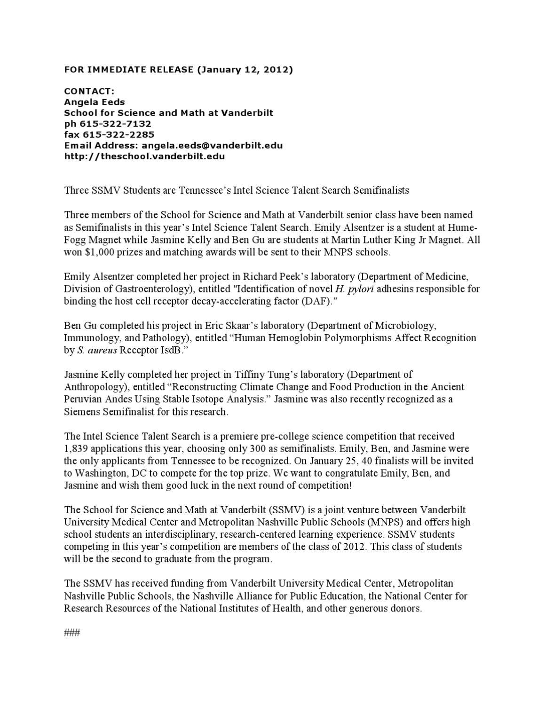 SSMV IntelSemi Finalists 2012 by Metro Nashville Public