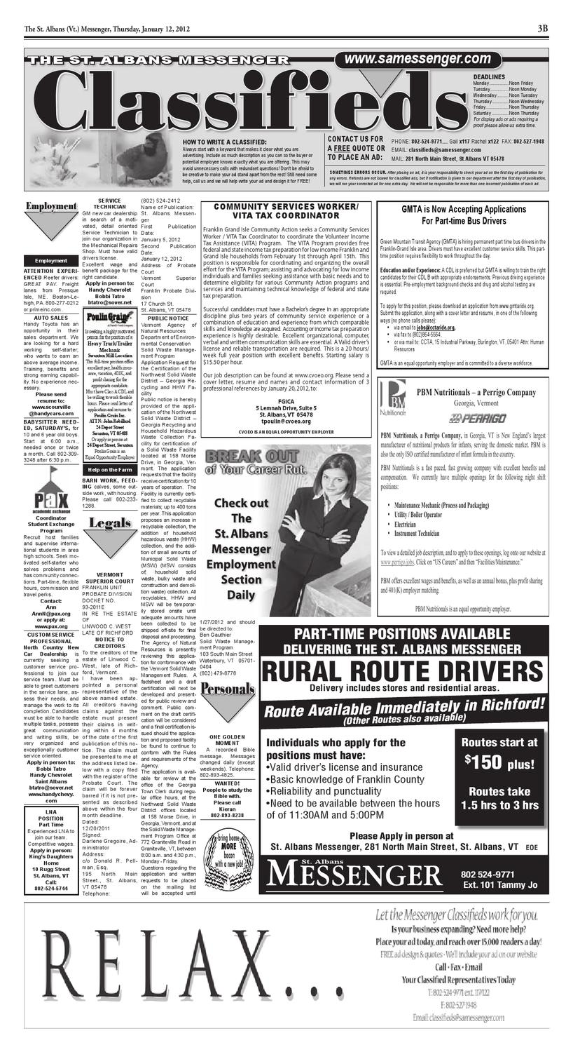 01/12/12 Classifieds by St  Albans Messenger - issuu