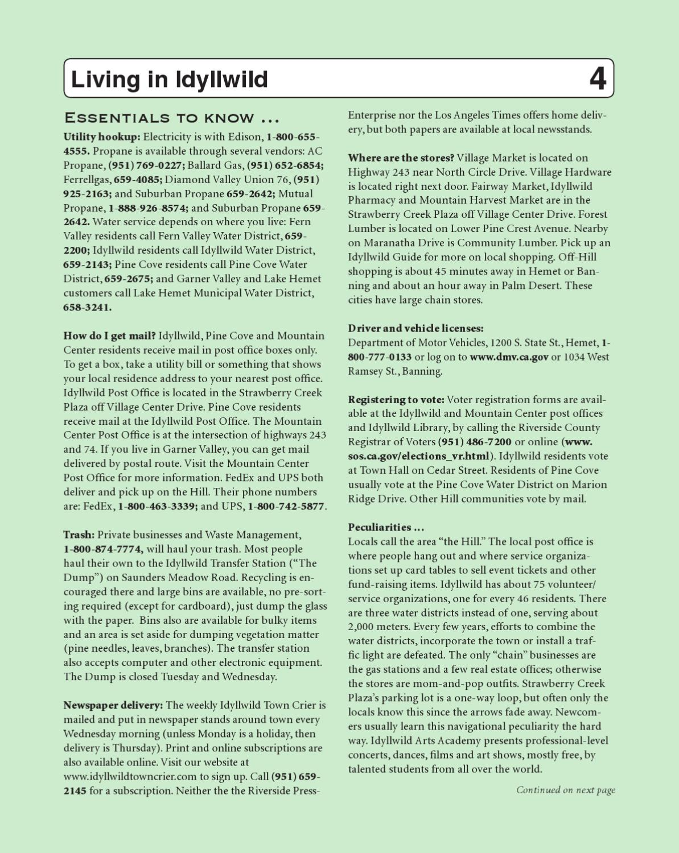 Idyllwild Phone Book 2012 by Idyllwild Town Crier - Issuu