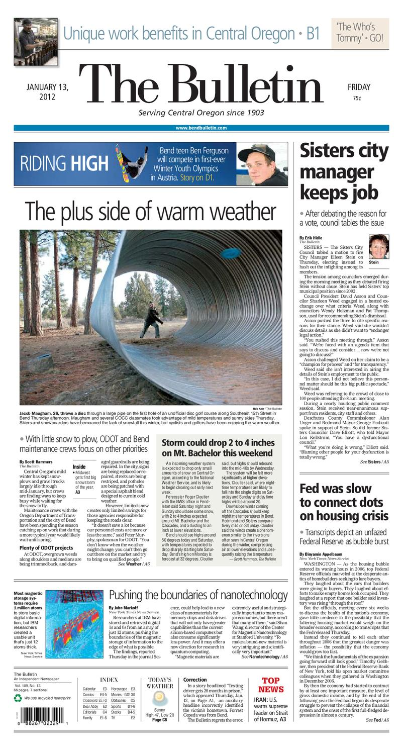 Bulletin Daily Paper 01/13/12 by Western Communications, Inc