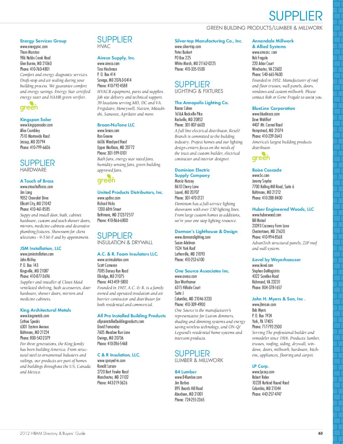 2012 HBAM Directory and Buyers' Guide by Maryland Building