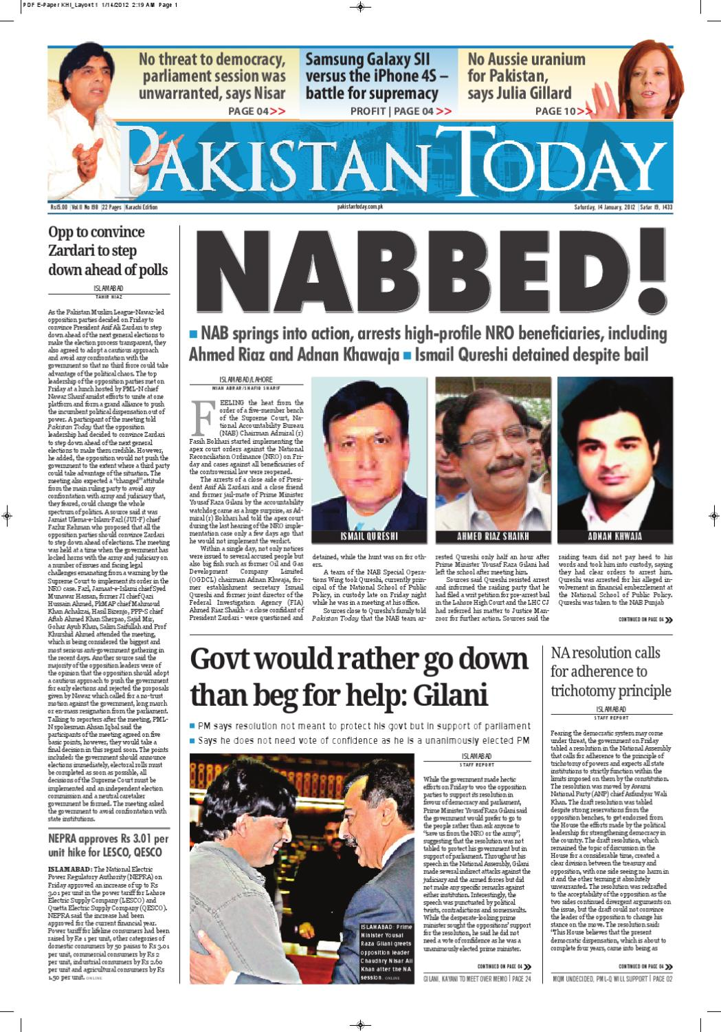 E-Paper PakistanToday 14th January, 2012 by Pakistan Today - issuu