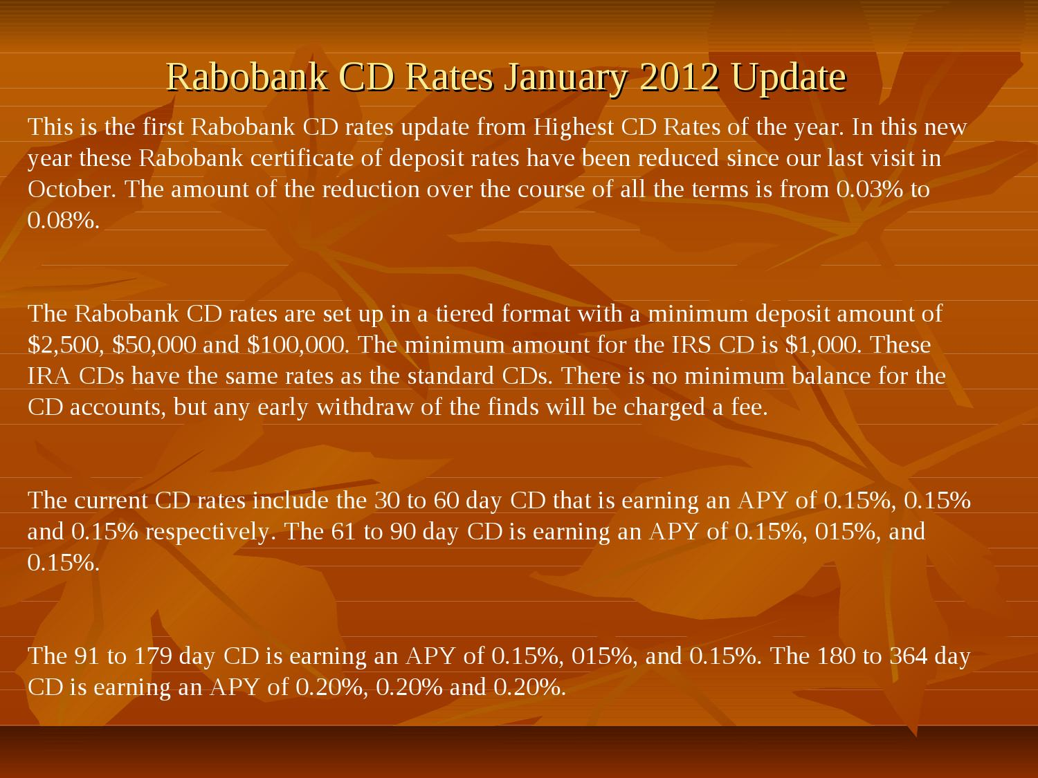 Rabobank Cd Rates January 2012 Update By Robin Smith Issuu