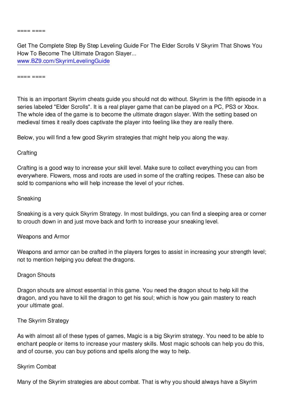 Skyrim Strategies by Wesley Williams - issuu