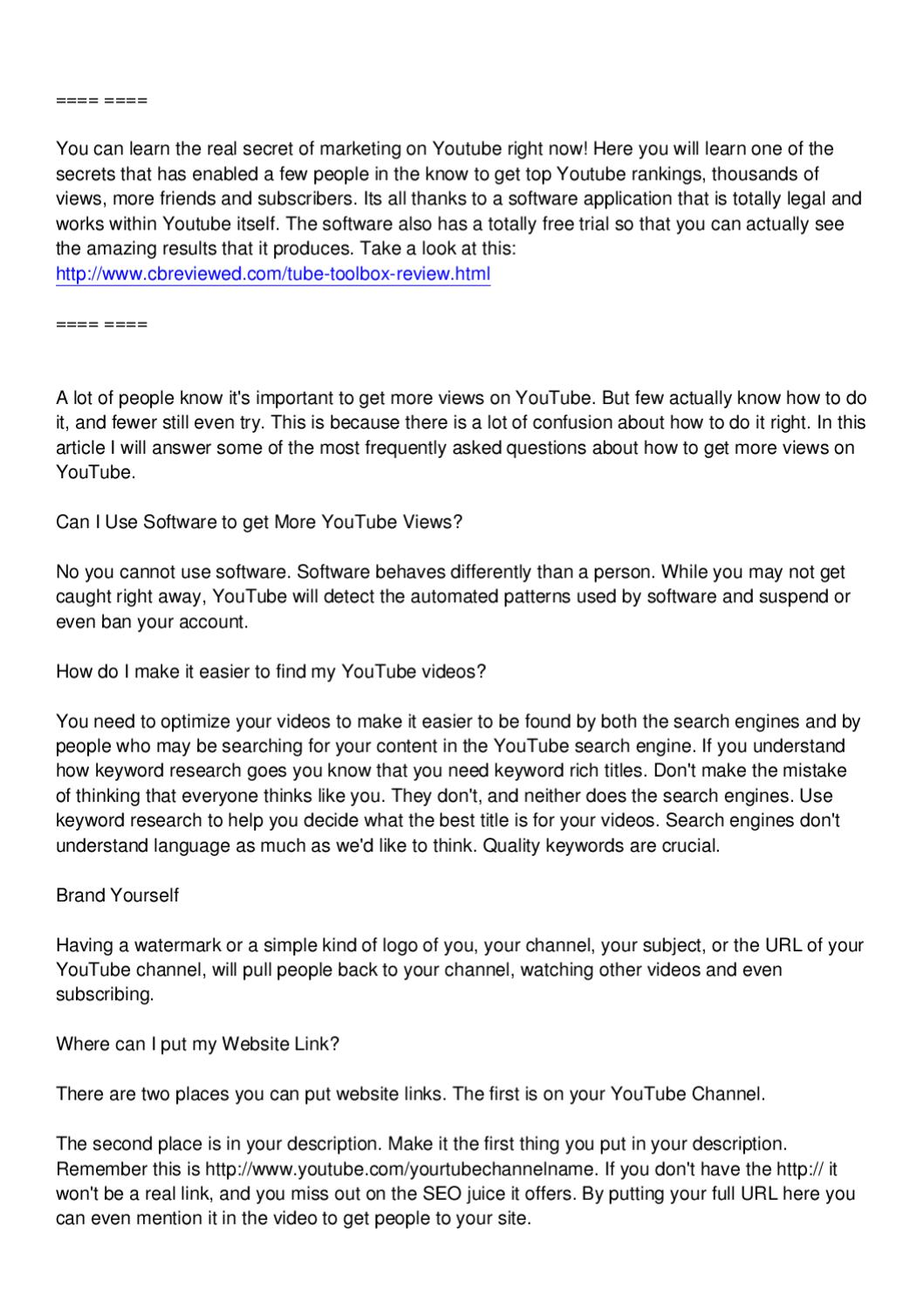 Get More Youtube Views - Youtube Marketing Trick by Andrew