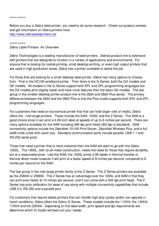 Zebra Label Printers - A Brief Overview by Mark Oetken - issuu