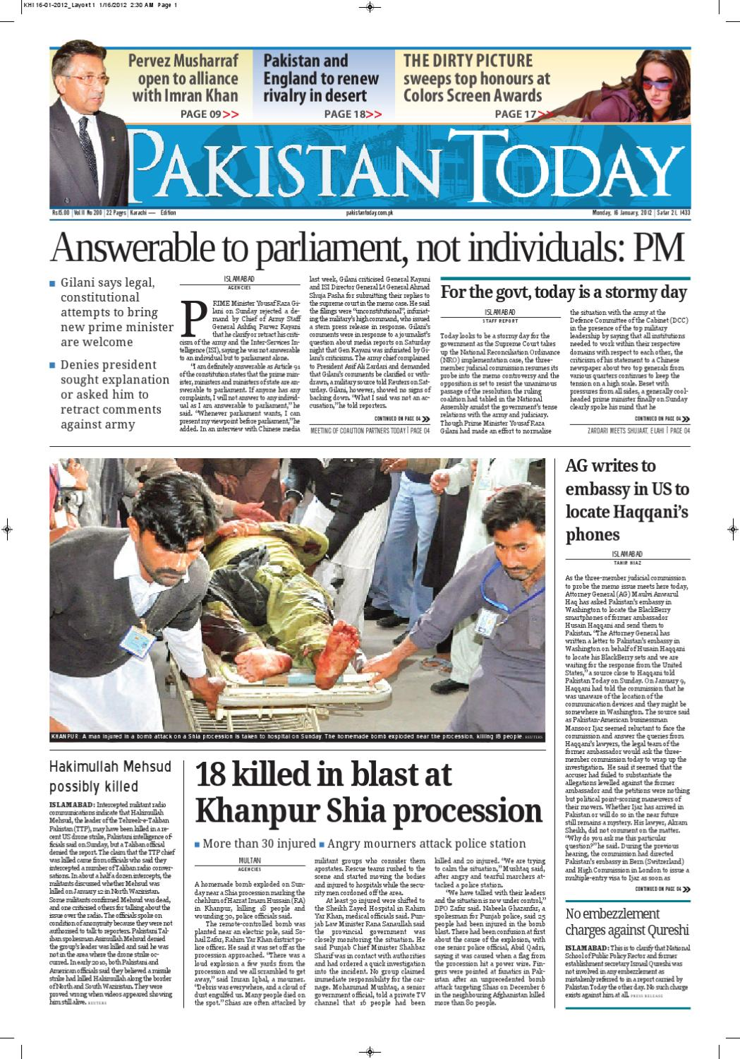 E-paper Pakistantoday KHI 16th January, 2012 by Pakistan Today - issuu