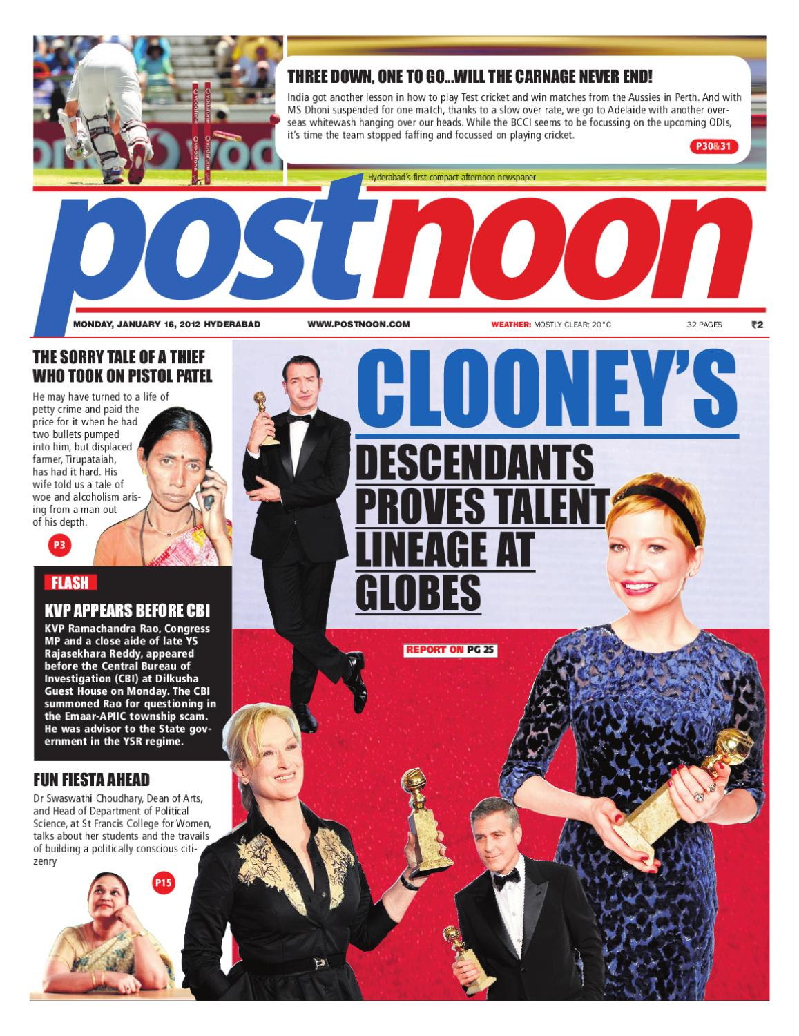 Postnoon E-Paper for 16 January 2012 by Scribble Media