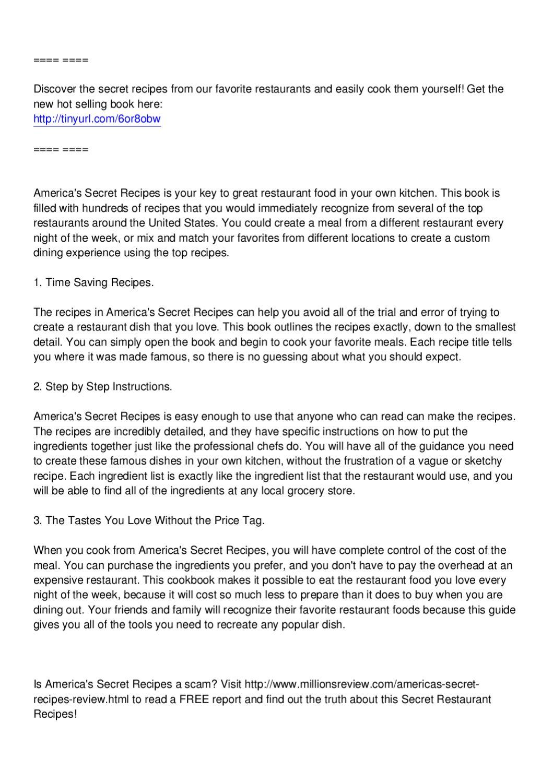 America's Secret Recipes Review by Henri James - issuu