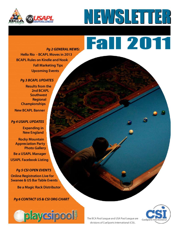 Fall 2011 CSI Newsletter by CueSports International - issuu