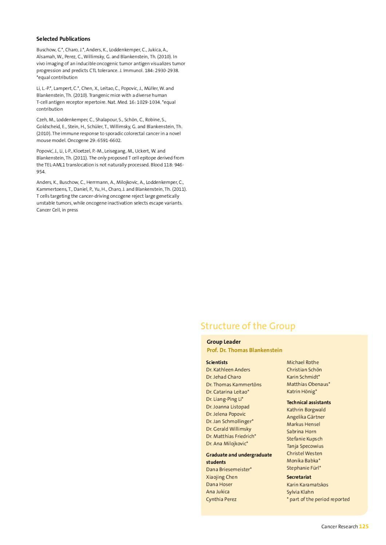 Ana Milojkovic mdc research report 2012max delbrück center for