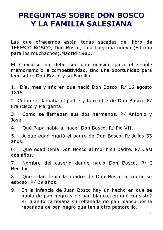 Cuestionario De Don Bosco By Escoge Don Rúa Issuu