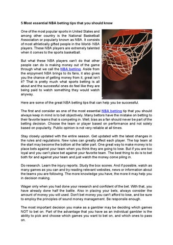 5 Most essential NBA betting tips that you should know by