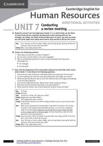 Cambridge English for Human Resources - Worksheet - Conducting a ...