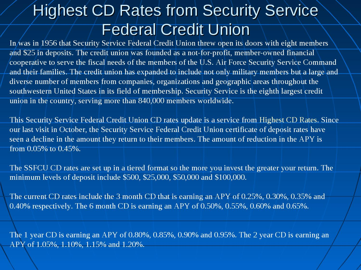 Highest Cd Rates From Security Service Federal Credit Union By Robin