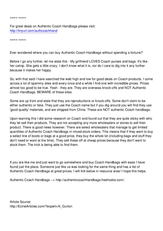 Authentic Coach Handbags - Great Deals by Ramesh Rathinam - issuu b3c8db40c56a3