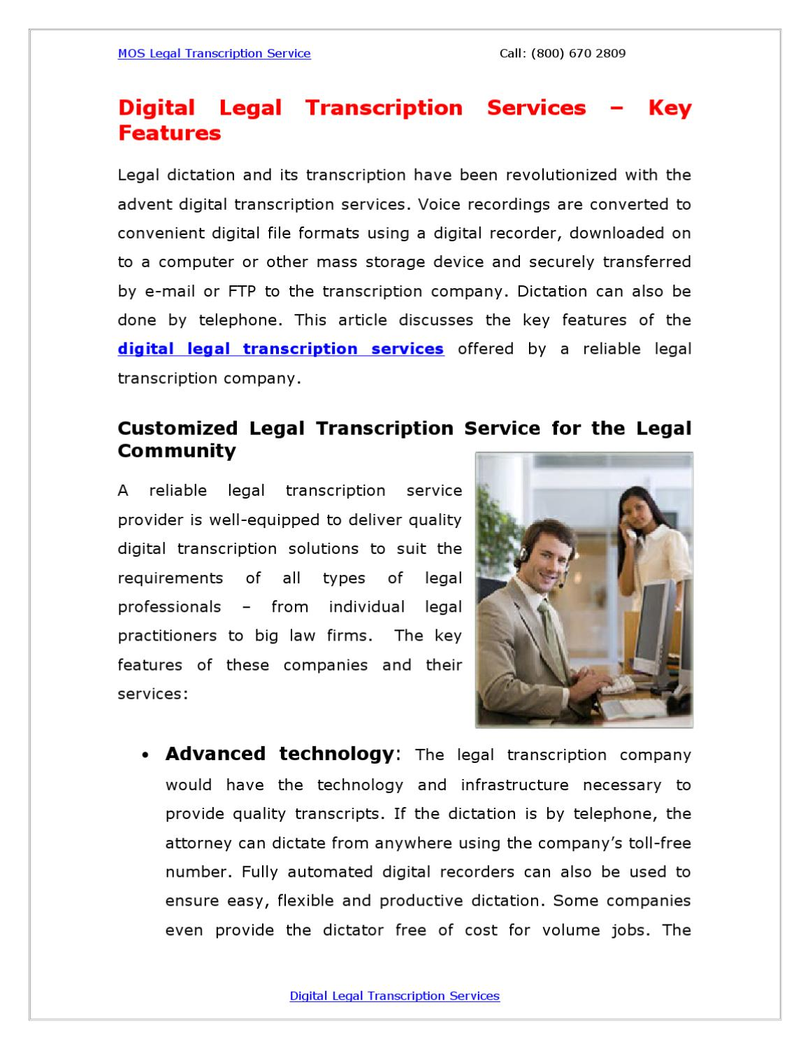 Digital Legal Transcription Services – Key Features by Bob