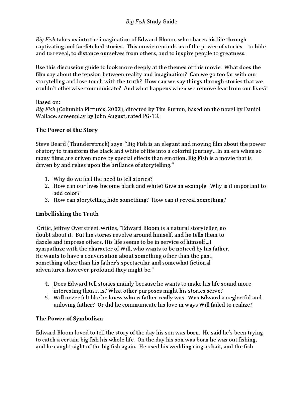Big Fish Study Guide By Frankie Huff Issuu