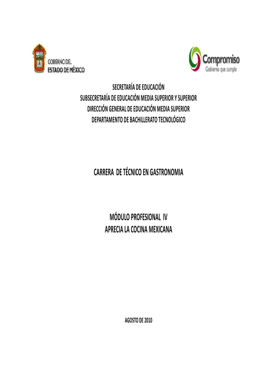 Técnico en Gastronomía Modulo IV by Subdirección de Bachillerato ...