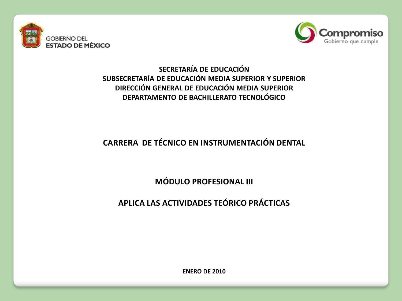 Técnico en Instrumentación Dental Modulo III by Subdirección de ...