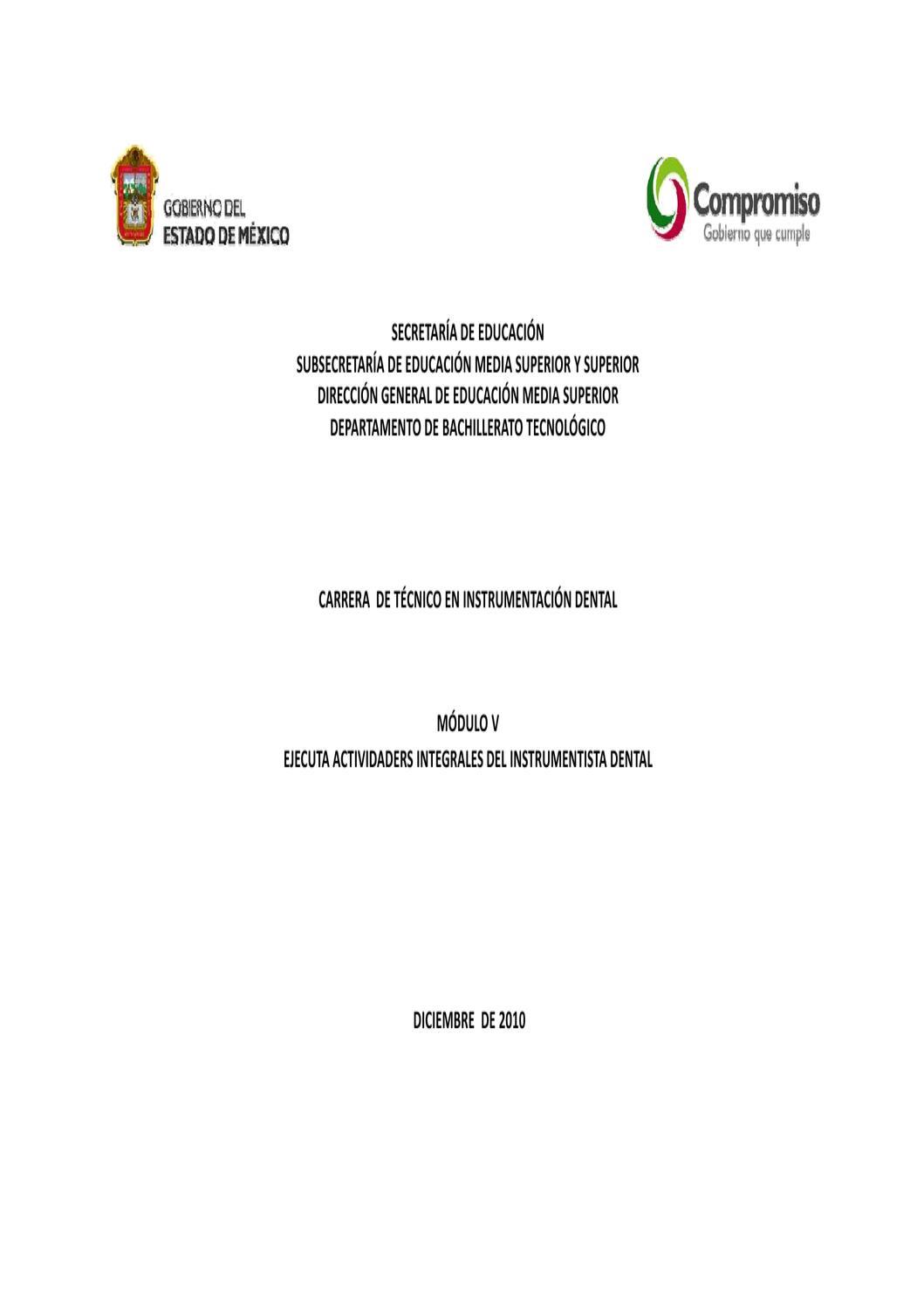 Técnico en Instrumentación Dental Modulo V by Subdirección de ...