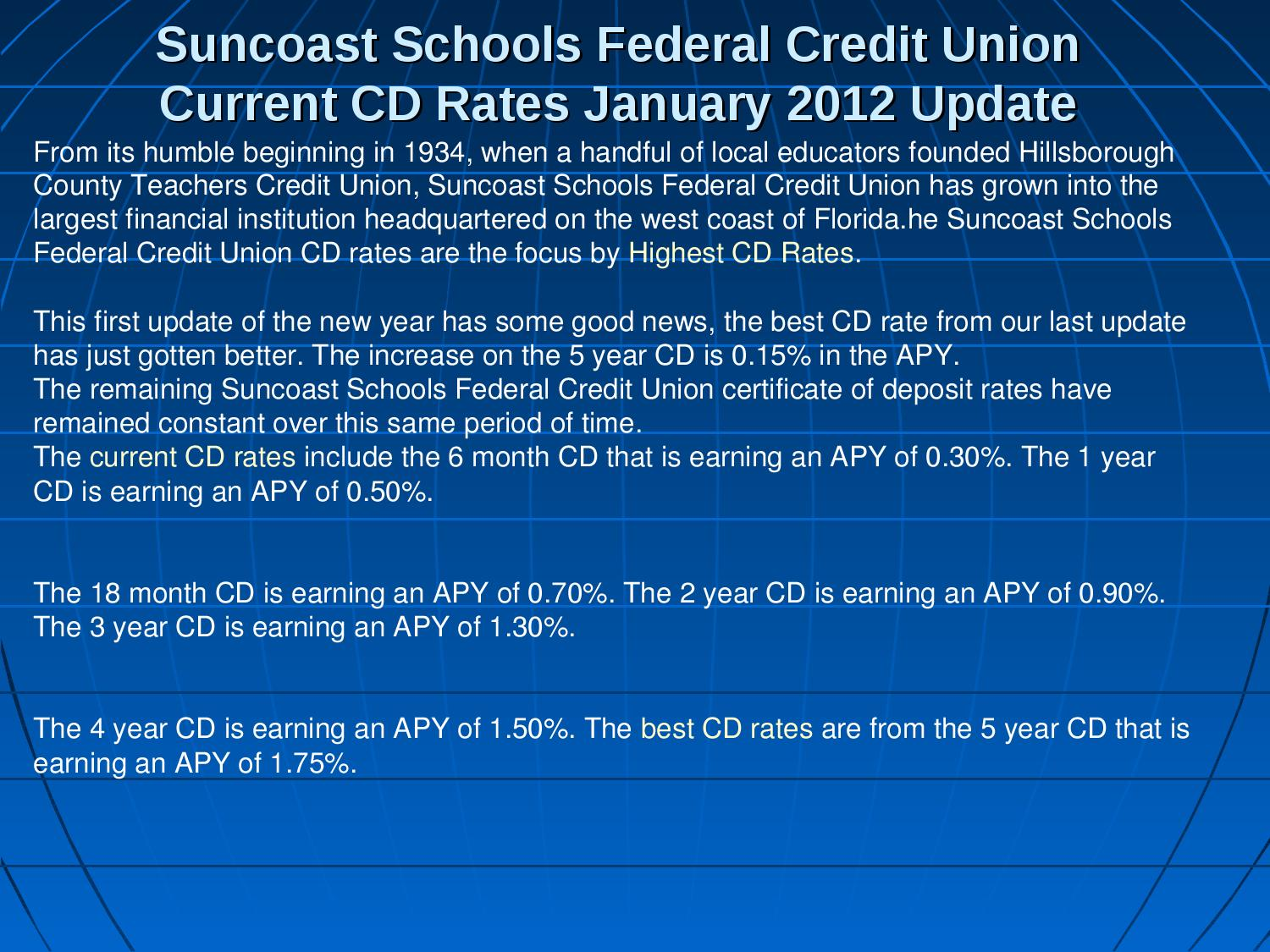 Best Cd Rates >> Suncoast Schools Federal Credit Union Current Cd Rates